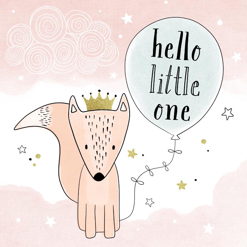Felicitatiekaarten - Felicitatiekaart geboorte hello little one groene ballon
