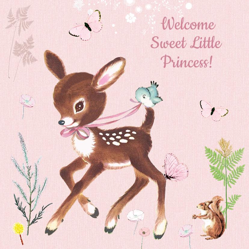 Felicitatiekaarten - Felicitatiekaart geboorte hertje roze