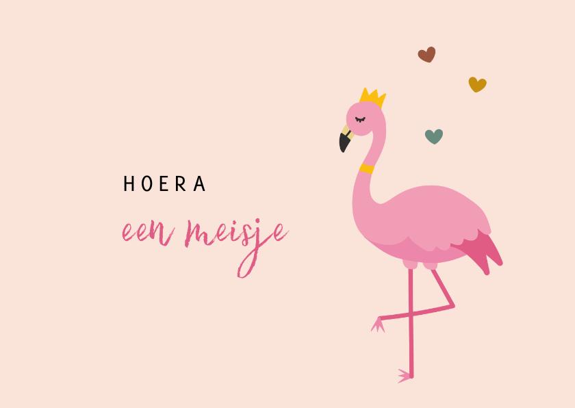 Felicitatiekaarten - Felicitatiekaart geboorte illustratie flamingo