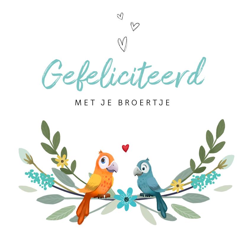 Felicitatiekaarten - Felicitatiekaart geboorte jongen broertje zus dieren vogels