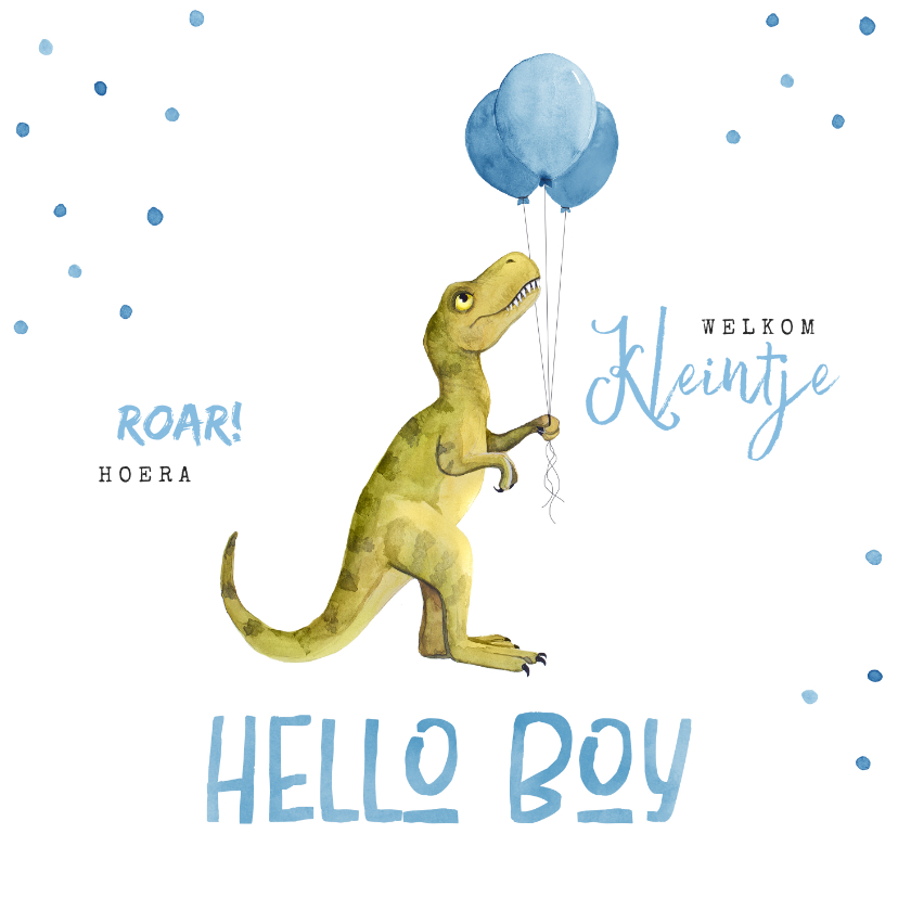 Felicitatiekaarten - Felicitatiekaart geboorte jongen dinosaurus confetti ballon