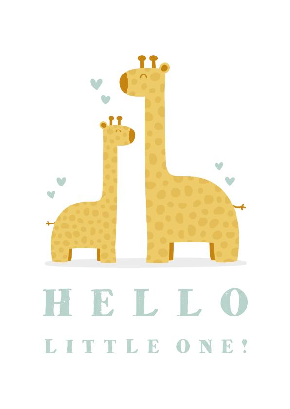Felicitatiekaarten - Felicitatiekaart geboorte jongen giraffes met hartjes