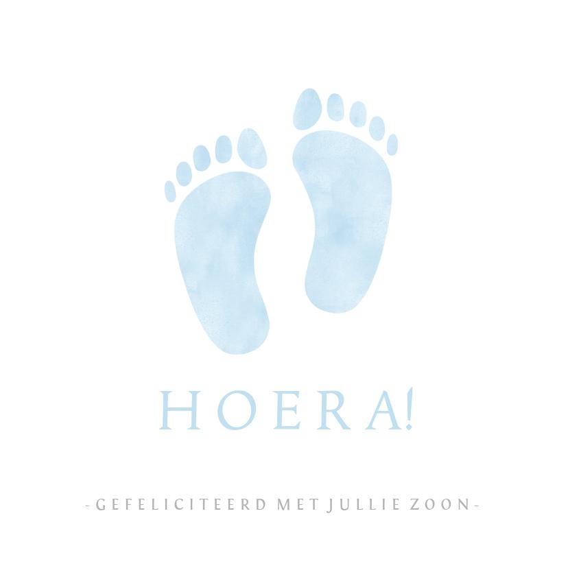 Felicitatiekaarten - Felicitatiekaart geboorte jongen met blauwe babyvoetjes
