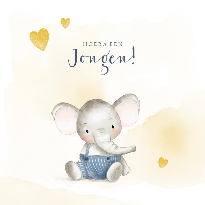 Felicitatiekaarten - Felicitatiekaart geboorte jongen met olifantje en hartjes