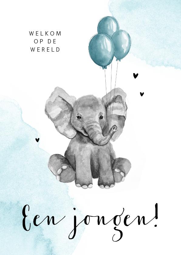 Felicitatiekaarten - Felicitatiekaart geboorte jongen olifantje blauw waterverf