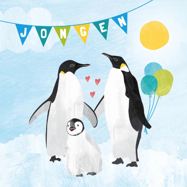 Felicitatiekaarten - Felicitatiekaart geboorte jongen - pinguin