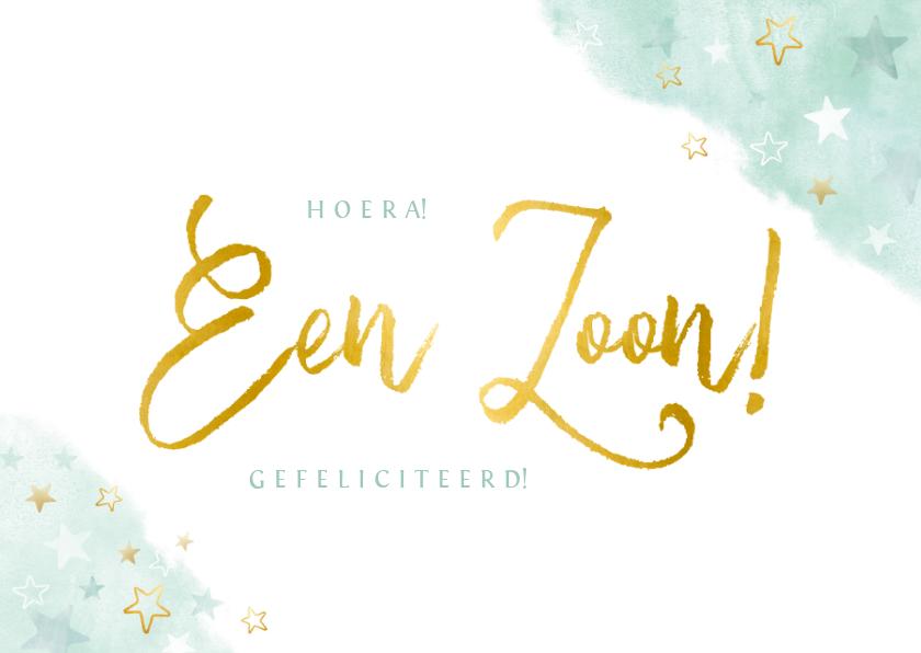 Felicitatiekaarten - Felicitatiekaart geboorte jongen - waterverf gouden sterren