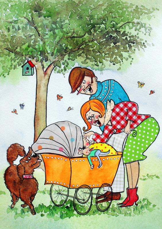 Felicitatiekaarten - Felicitatiekaart geboorte Kinderwagen hond