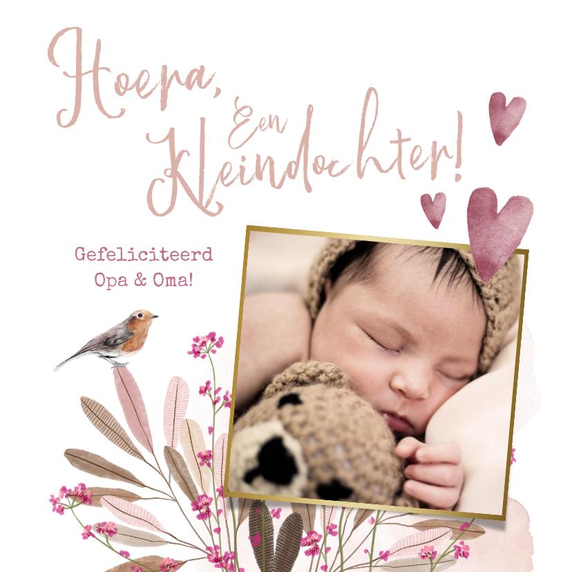Felicitatiekaarten - Felicitatiekaart geboorte kleindochter bloemen vogel hartjes