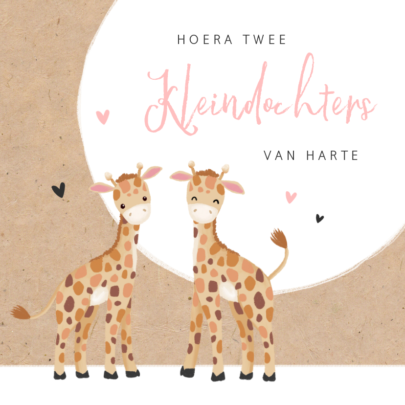 Felicitatiekaarten - Felicitatiekaart geboorte kleindochters tweeling giraf
