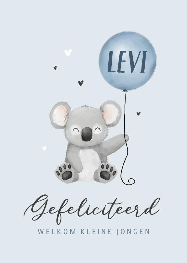 Felicitatiekaarten - Felicitatiekaart geboorte koala ballon hartjes jongen