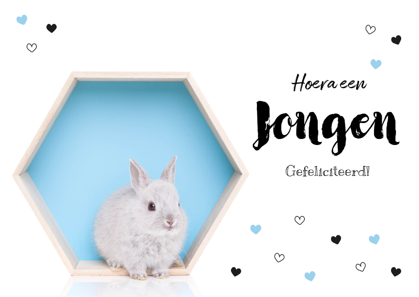 Felicitatiekaarten - Felicitatiekaart - Geboorte - Lief konijntje blauw hartjes