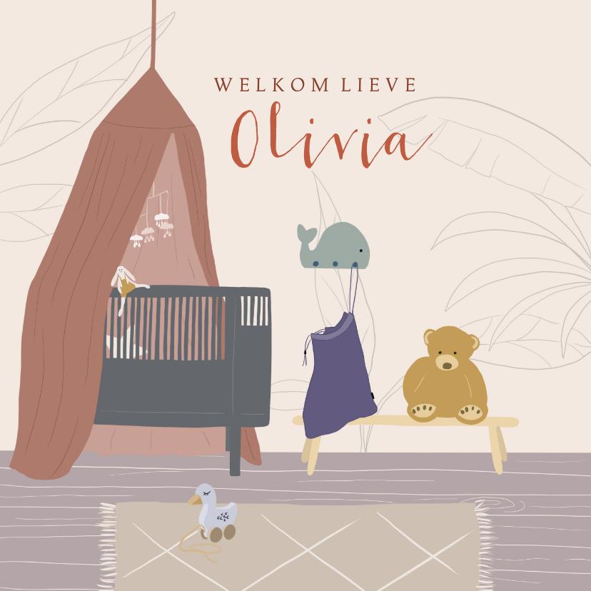 Felicitatiekaarten - Felicitatiekaart geboorte meisje babykamer