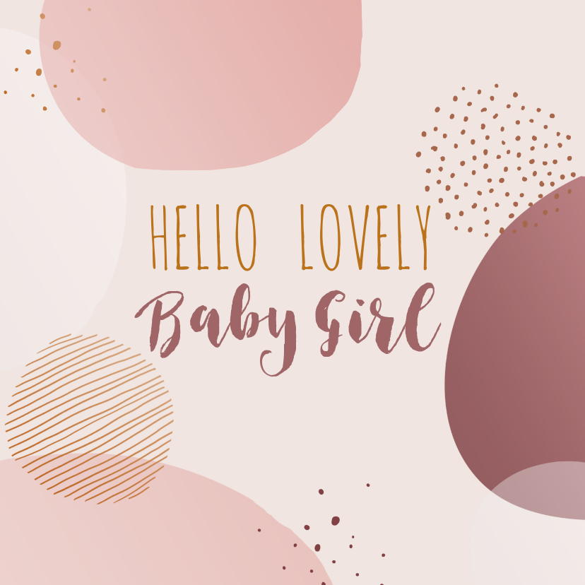 Felicitatiekaarten - Felicitatiekaart geboorte meisje cirkels en stippen