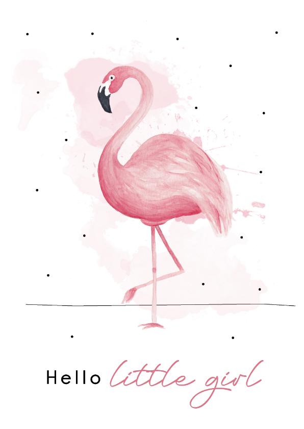 Felicitatiekaarten - Felicitatiekaart geboorte meisje met hippe flamingo