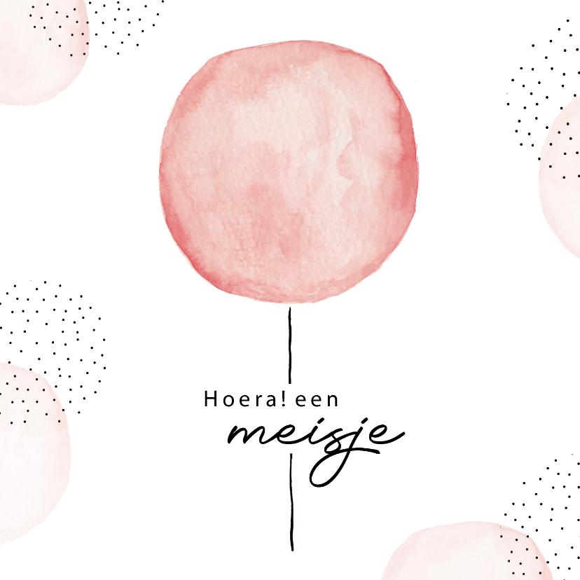 Felicitatiekaarten - Felicitatiekaart geboorte meisje met roze waterverf ballon