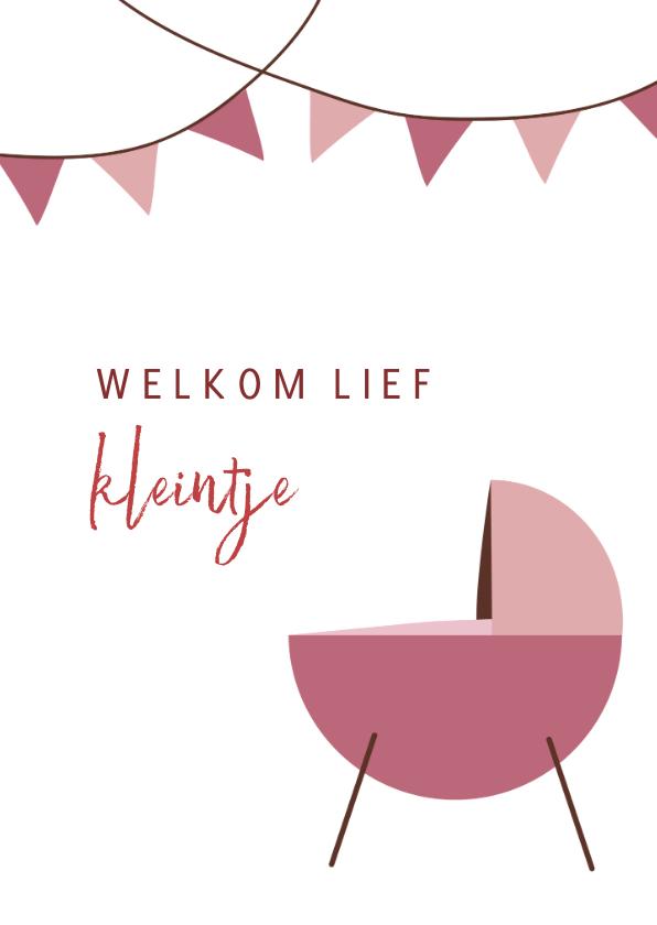 Felicitatiekaarten - Felicitatiekaart geboorte meisje met roze wieg