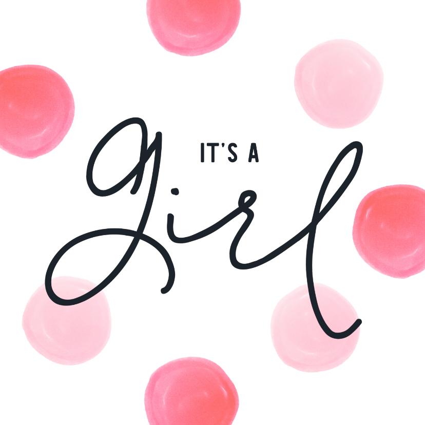 Felicitatiekaarten - Felicitatiekaart geboorte meisje roze dots watercolor