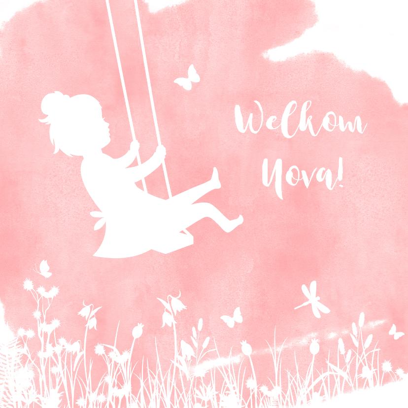 Felicitatiekaarten - Felicitatiekaart geboorte meisje - silhouet op schommel