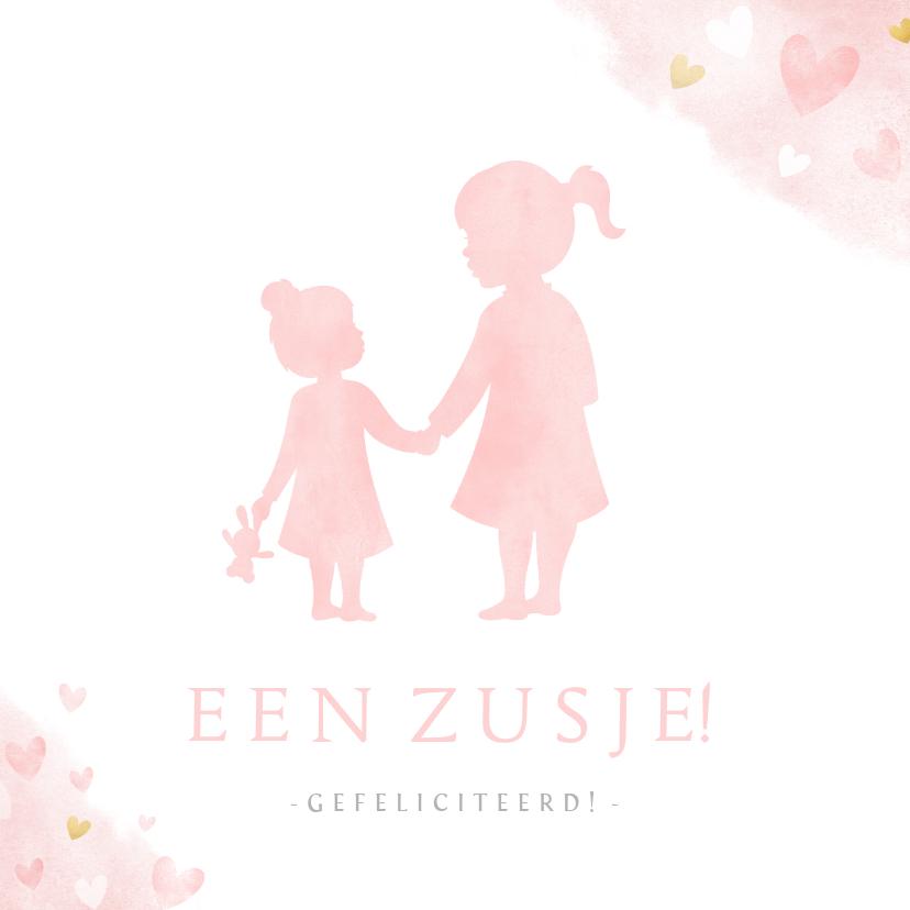 Felicitatiekaarten - Felicitatiekaart geboorte meisje silhouet zusje hand in hand
