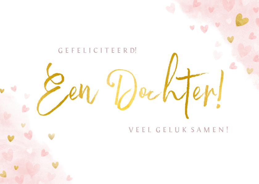 Felicitatiekaarten - Felicitatiekaart geboorte meisje - waterverf gouden hartjes