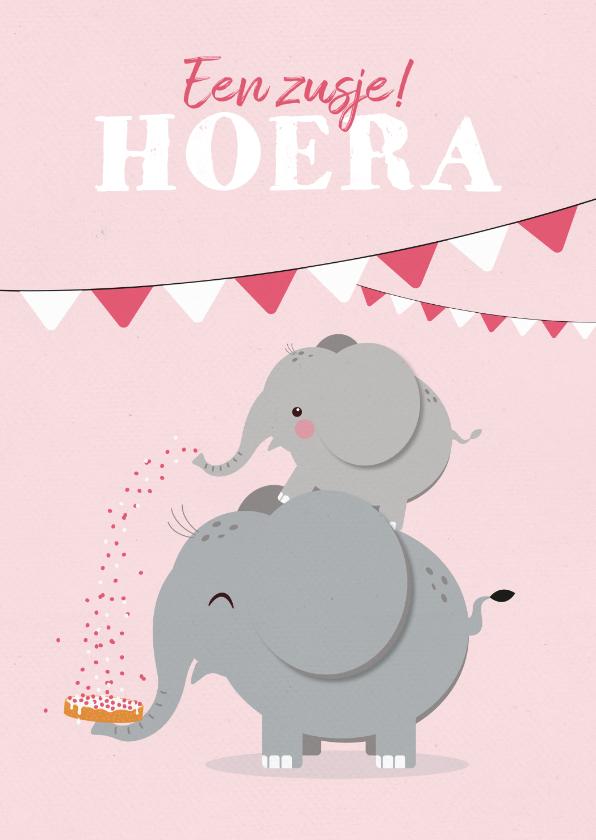 Felicitatiekaarten - Felicitatiekaart geboorte meisje zusje olifantjes beschuitje