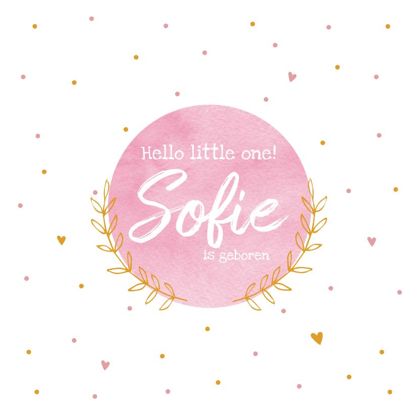 Felicitatiekaarten - Felicitatiekaart geboorte met naam roze