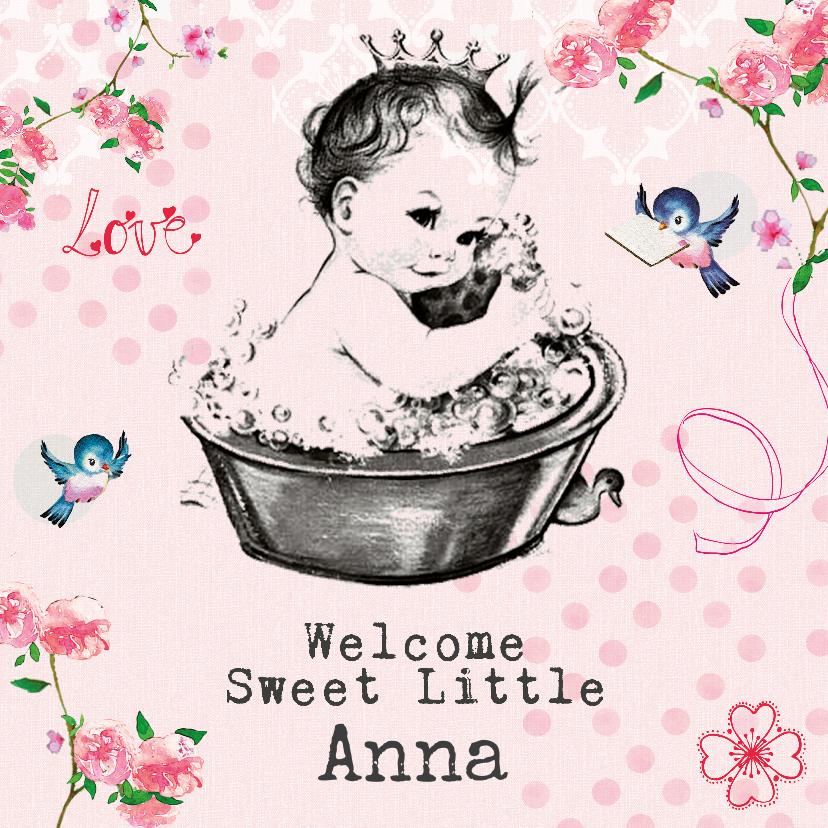 Felicitatiekaarten - Felicitatiekaart geboorte met vintage baby in badje met naam