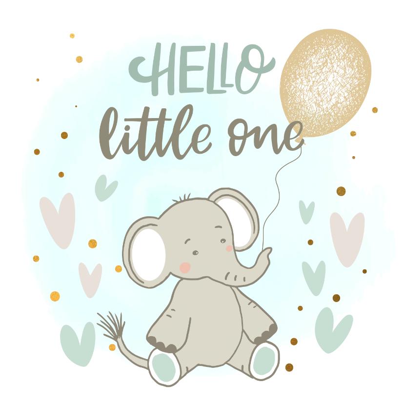 Felicitatiekaarten - Felicitatiekaart geboorte - Olifant jongen met ballon