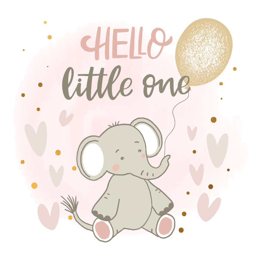 Felicitatiekaarten - Felicitatiekaart geboorte - Olifant meisje met ballon