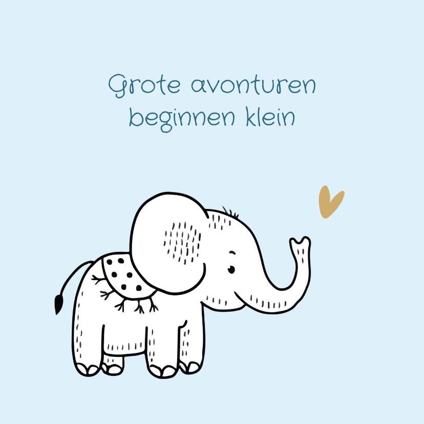 Felicitatiekaarten - Felicitatiekaart geboorte olifantje met blauwe achtergrond