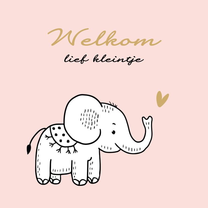 Felicitatiekaarten - Felicitatiekaart geboorte olifantje met roze achtergrond