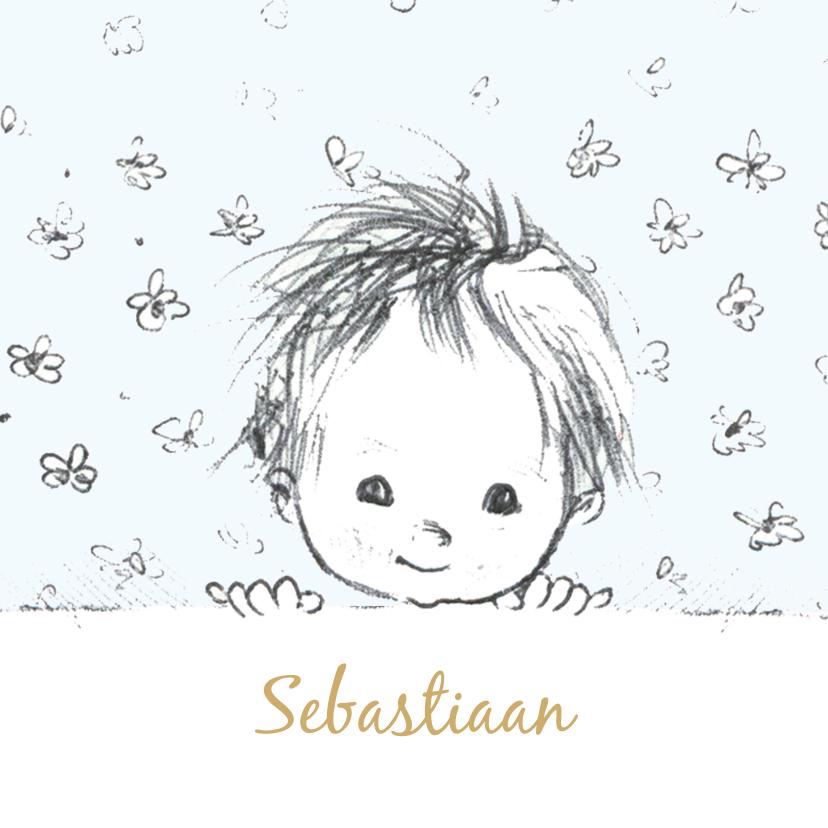 Felicitatiekaarten - Felicitatiekaart geboorte pentekening babyhoofdje lichtblauw