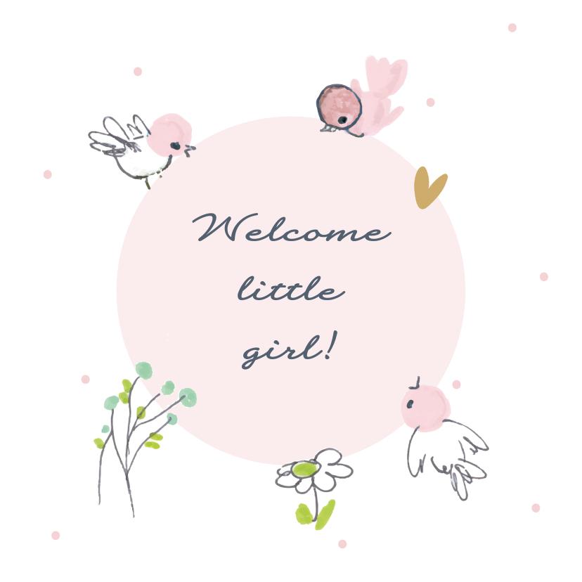 Felicitatiekaarten - Felicitatiekaart geboorte roze vogeltjes om een cirkel