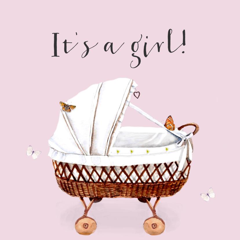Felicitatiekaarten - Felicitatiekaart Geboorte Roze wieg