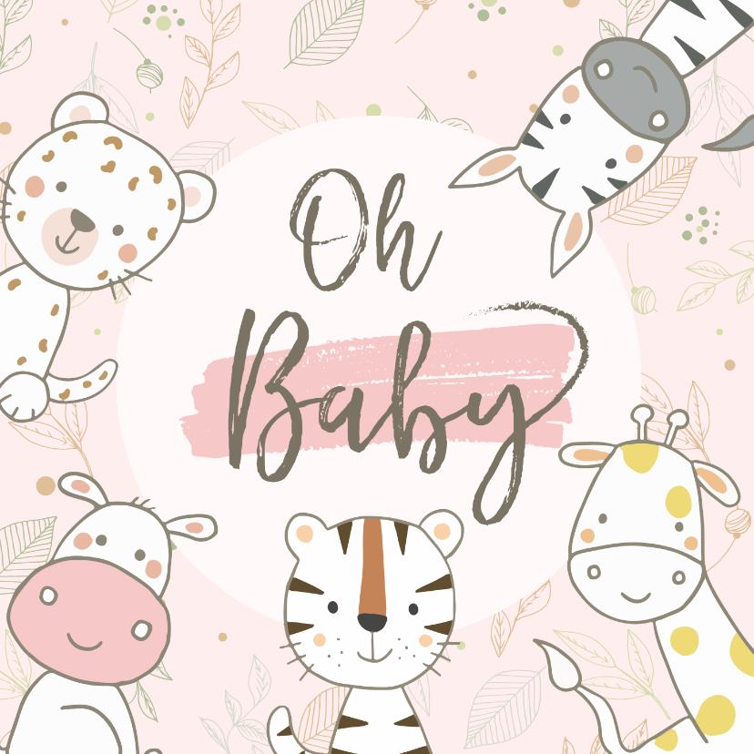 Felicitatiekaarten - Felicitatiekaart geboorte safaridieren om cirkel meisje