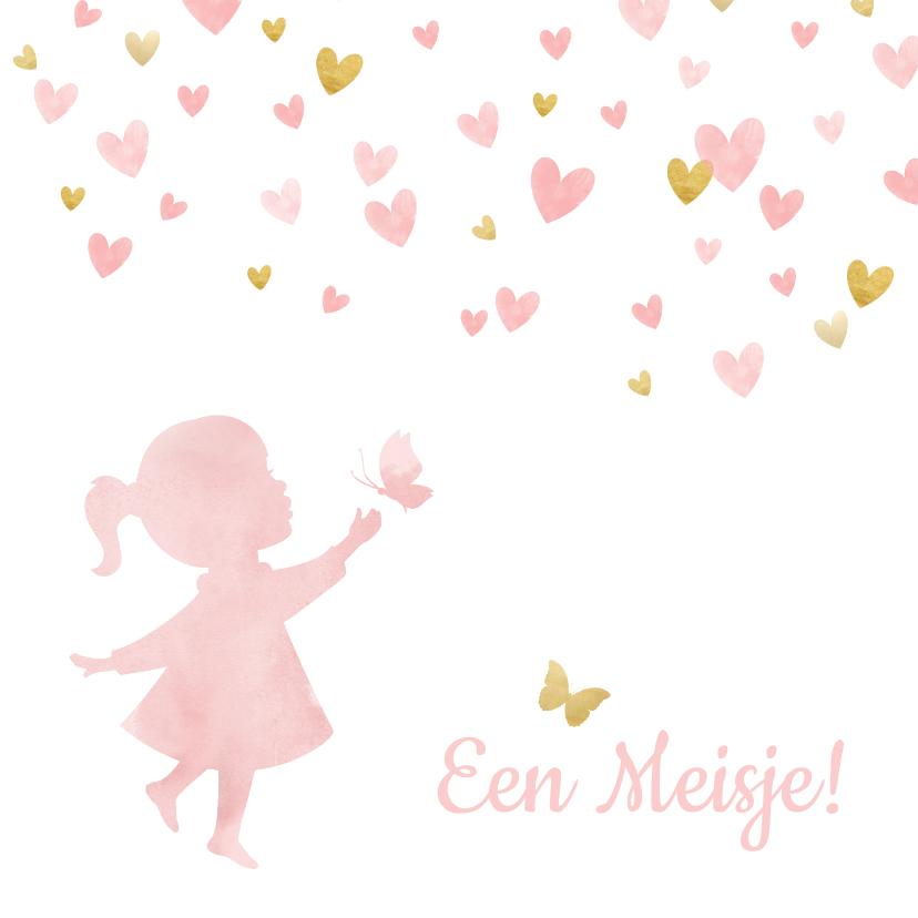 Felicitatiekaarten - Felicitatiekaart geboorte silhouet meisje met hartjes