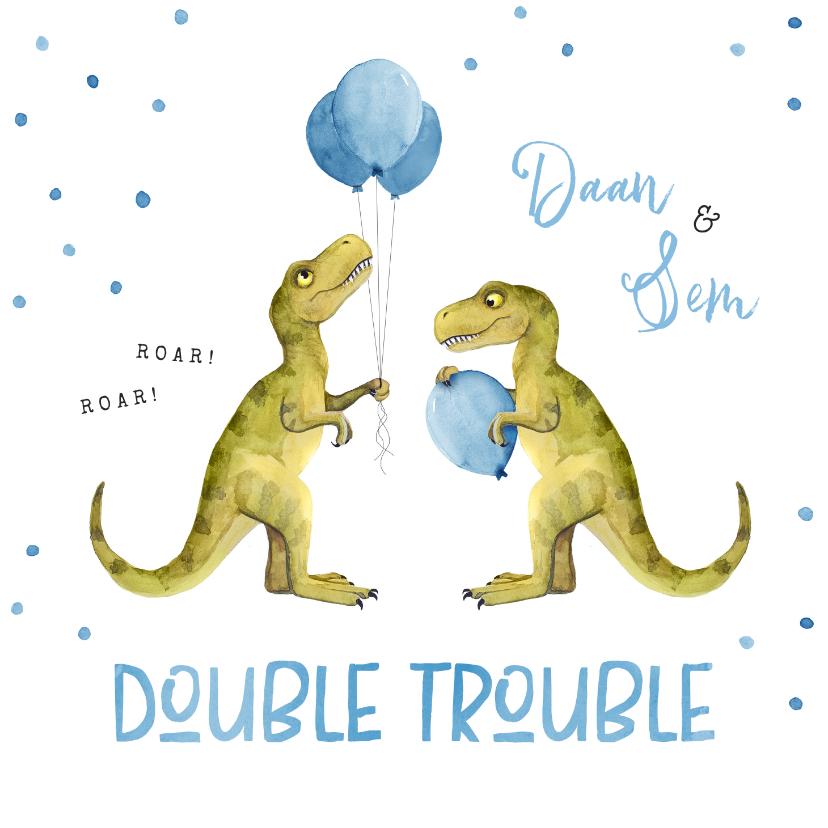 Felicitatiekaarten - Felicitatiekaart geboorte tweeling dinosaurus double trouble