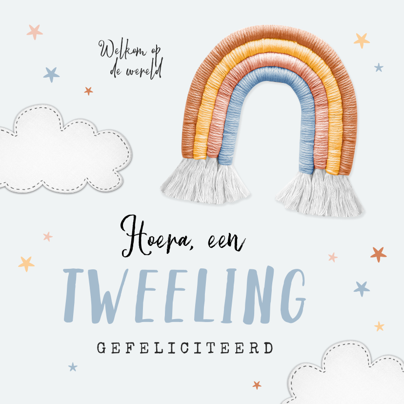 Felicitatiekaarten - Felicitatiekaart geboorte tweeling wolkjes regenboog sterren