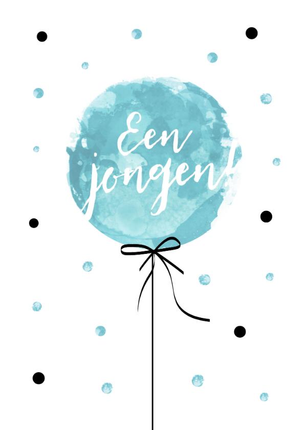 Felicitatiekaarten - Felicitatiekaart geboorte van een jongen met blauwe ballon