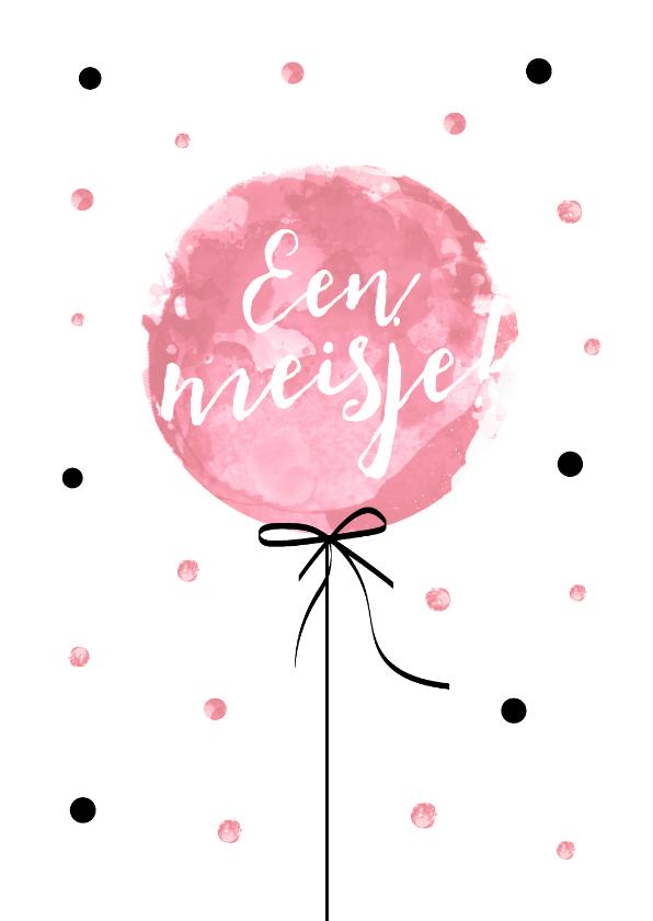 Felicitatiekaarten - Felicitatiekaart geboorte van een meisje met roze ballon