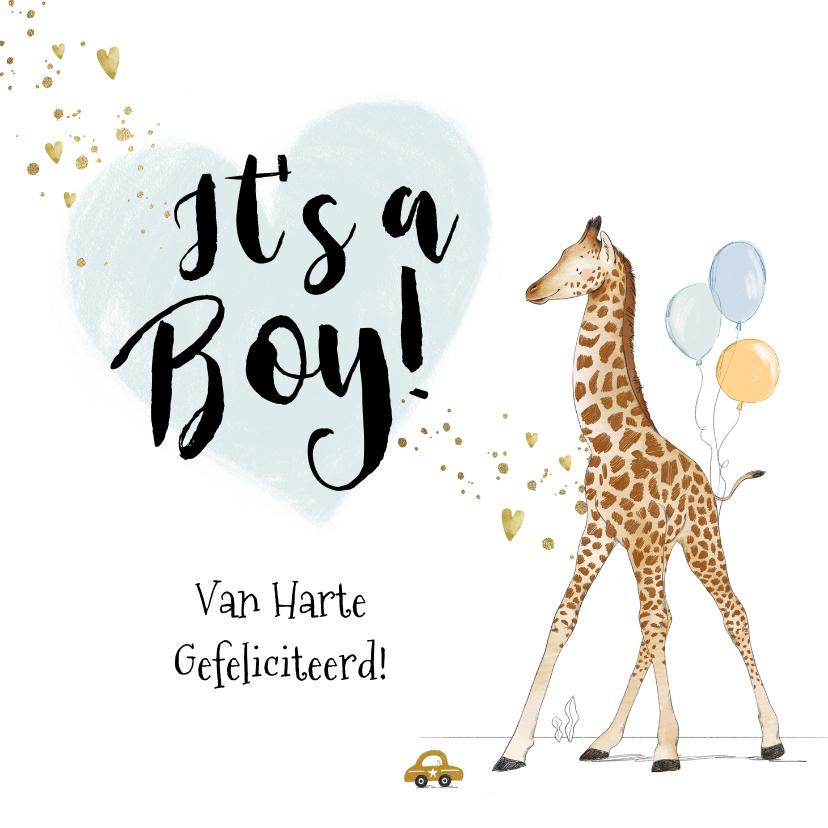Felicitatiekaarten - Felicitatiekaart geboorte zoon giraf hartjes goud spetters