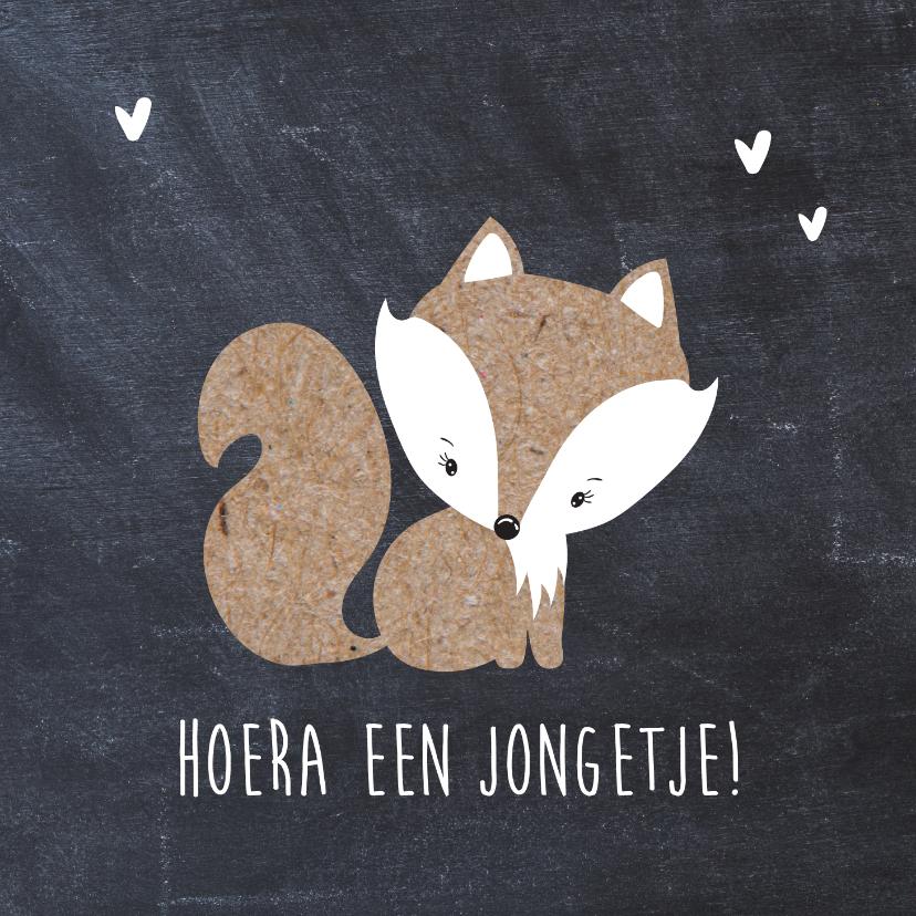 Felicitatiekaarten - Felicitatiekaart geboorte zoon krijtbord vos
