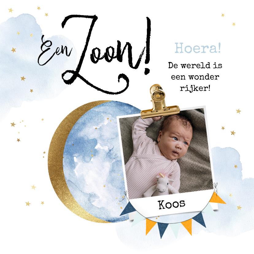 Felicitatiekaarten - Felicitatiekaart geboorte zoon maan watercolour goudlook