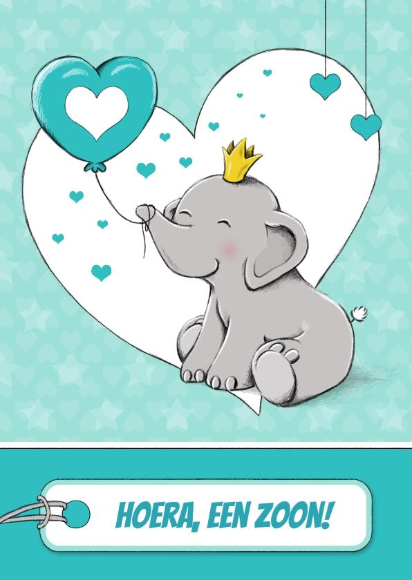 Felicitatiekaarten - Felicitatiekaart geboorte zoon met olifant en ballon