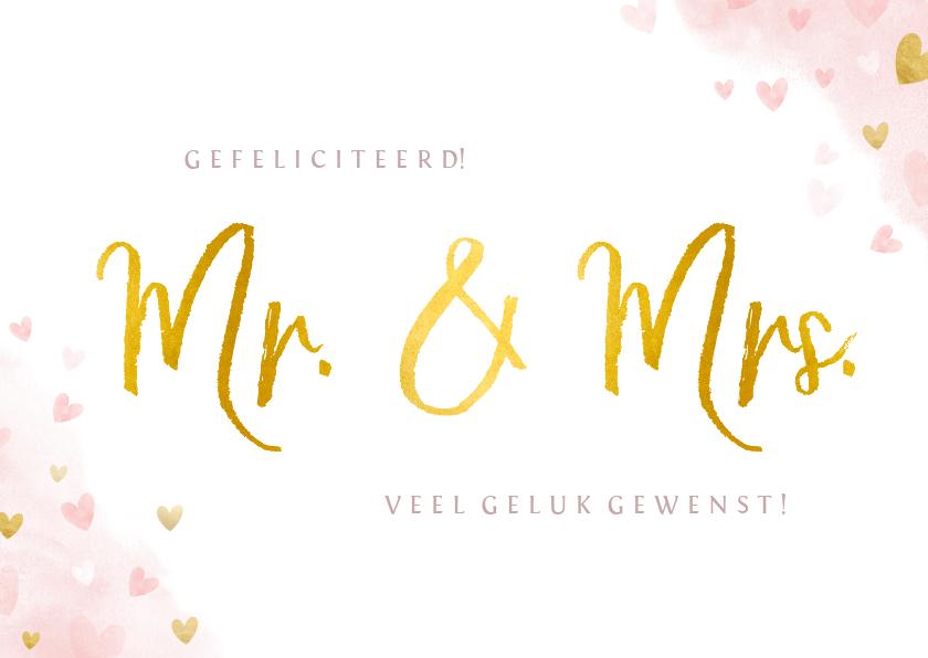 Felicitatiekaarten - Felicitatiekaart getrouwd - mr. & mrs. waterverf en hartjes