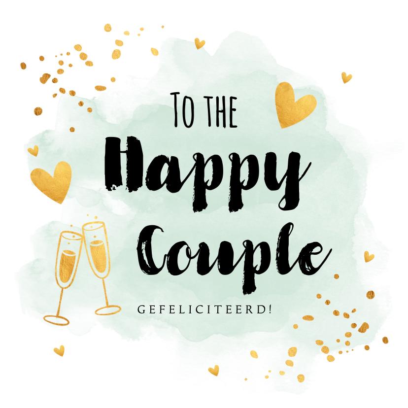 Felicitatiekaarten - Felicitatiekaart getrouwd waterverf mintgroen goudlook