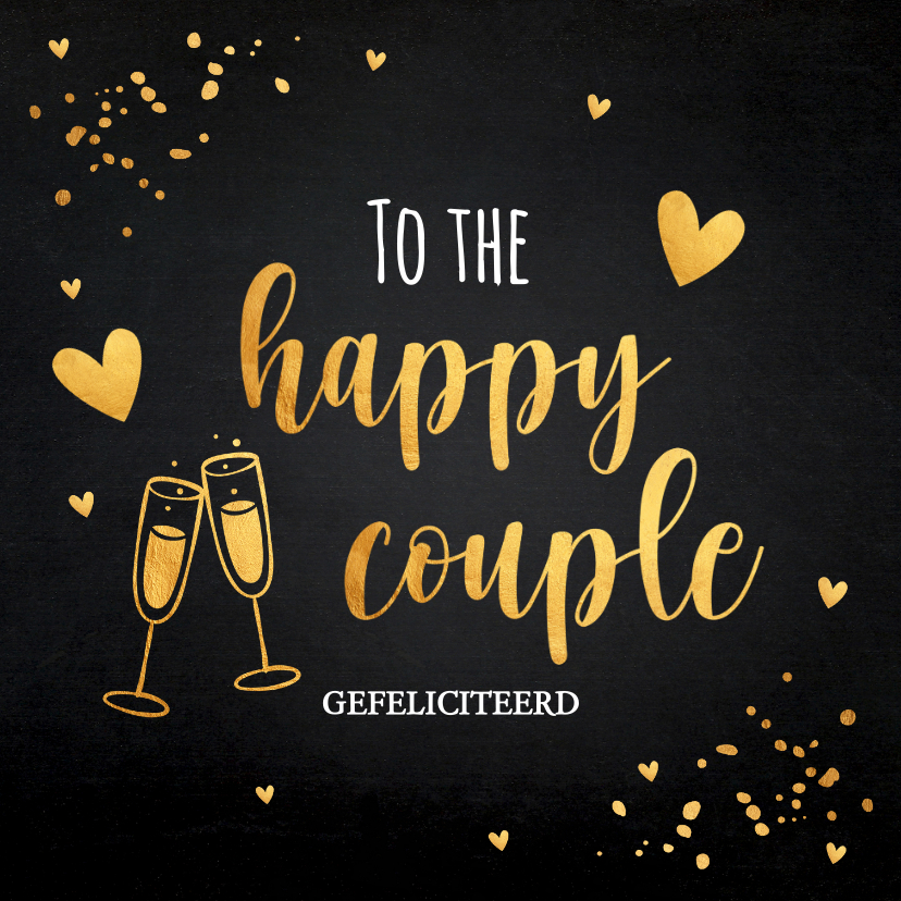 Felicitatiekaarten - Felicitatiekaart getrouwd zwart confetti goudlook