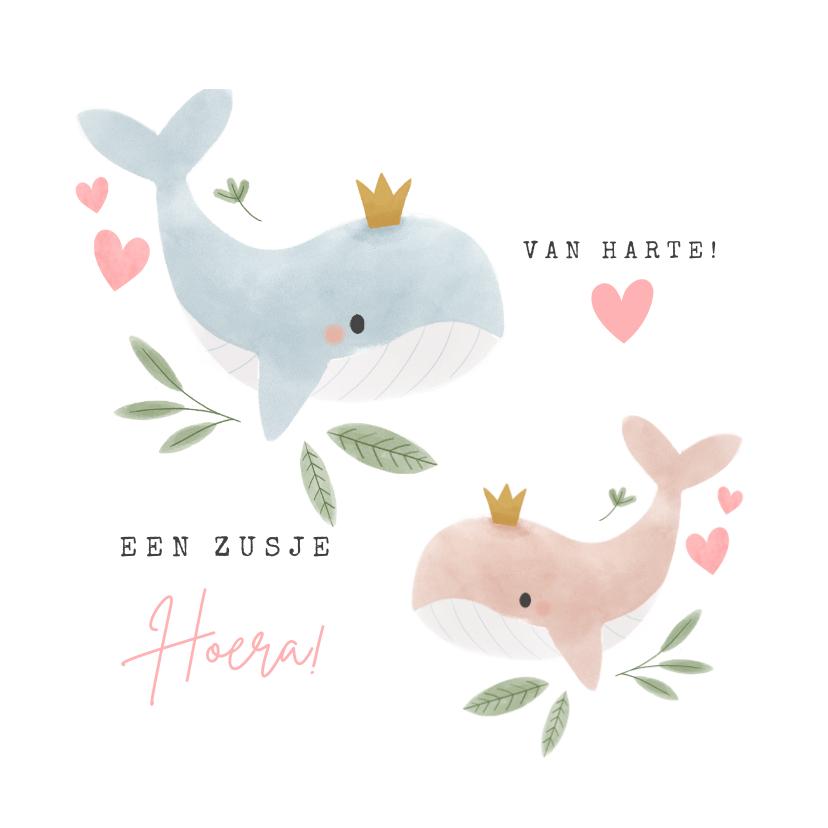 Felicitatiekaarten - Felicitatiekaart grote broer die zusje krijgt met walvissen