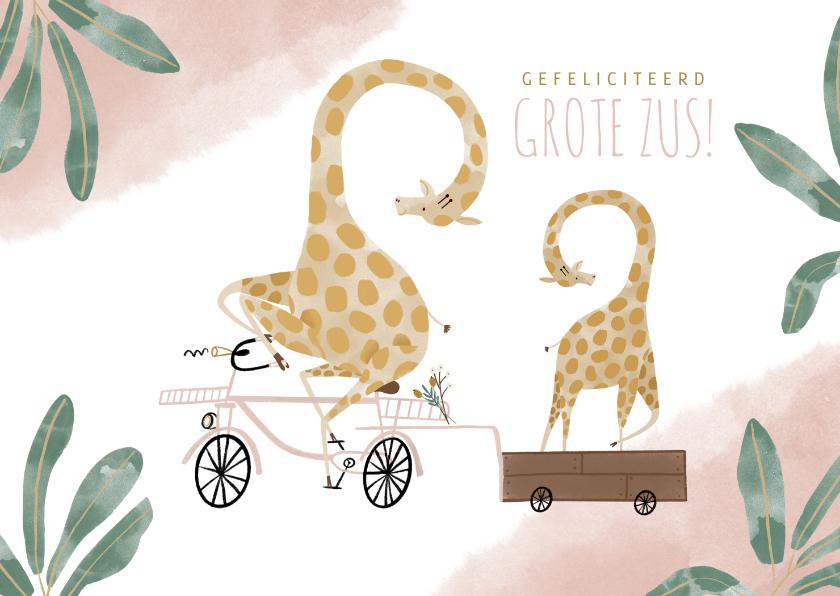 Felicitatiekaarten - Felicitatiekaart grote zus met girafjes en roze bakfiets